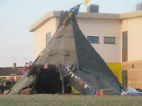 0FF GRID SURVIVAL WIGWAM TEEPEE YURT FOR SALE WITH FIRE READY FOR ACTION