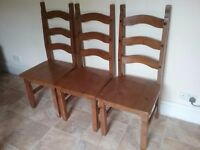 Solid Pine Chairs x3, firm, clean and in very good condition.