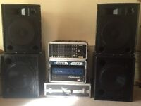 P.A. System - 200W Power Amp , 4 x Speakers, 1600W Sub Amplifier , Crossover & Flight Cases
