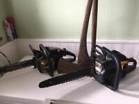CHAINSAWS 12 INCH PLUS 16 INCH AND SLEDGE HAMMER AND LARGE AXE BUNDLE £150