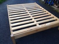 Pine slatted king size bed frame
