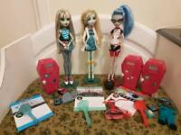 Monster high home ick lagoona,ghoulia & frankie