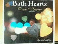 Limited edition champagne and orange bath hearts bath bombs