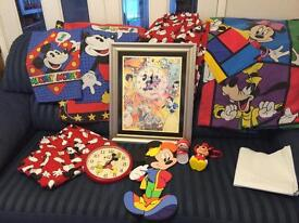Large Bundle of Mickey Mouse bedroom items inc.duvet x2, clocks, curtains, picture. VGC