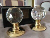 Genuine Crystal door handles for sale Brass & Silver