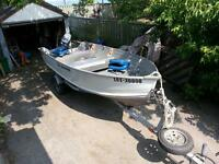 fishing boat motor and trailer