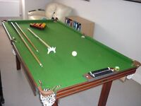 Snooker and Pool Table complete with both sets of balls and cue - £50