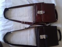2 Manbags.Beautiful Quality Leather.Stitched.Pockets with zips.Lock.Fine craftmanship.Preloved.