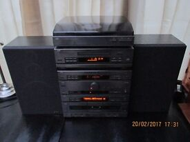 JVC HI FI STEREO STACK SYSTEM - 140 WATTS, TURNTABLE, CD, TWIN TAPE, RADIO