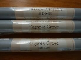 LAURA ASHLEY MAGNOLIA GROVE SLATE GREY WALLPAPER-NEW-UNOPENED -3 ROLLS