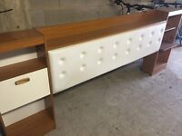 RETRO BEDSIDE CABINET AND LEATHER PADDED HEADREST