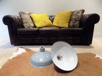 2 x Old Vintage Large Grey Metal Industrial Lamp Shades