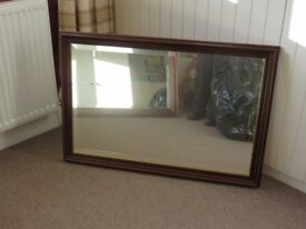 Mirror with Dark Wood Frame
