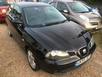 2005 SEAT IBIZA 1.4 16V SPORT 3DR BLACK ONE PREVIOUS OWNER