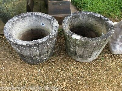 Salvaged Old Pair Of Weathered Concrete Round Barrel Style Garden Pots Urns 12""