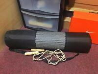 Yoga mat gym exercise thick fitness physio pilates soft mats non slip carrier with skipping rope