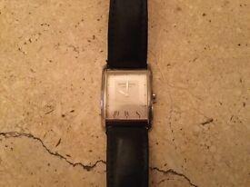 Raymond Weil classic rectangular wrist watch with original black leather strap