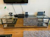 Chrome TV Unit with Glass Top and Storage