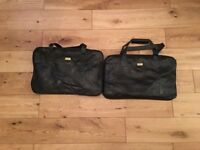 2 piece Black Leather Travel Bags