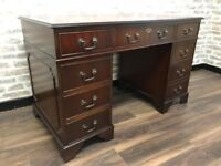 Red Leather Inlay Mahogany Veneer Wood Captains Desk