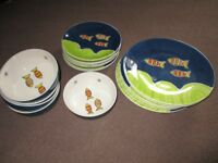 Set of Whittard crockery - dinner plates, side plates and desert bowls