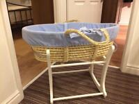 Mothercare Rocking Stand with Moses Basket, Mattress & 5 Fitted Sheets