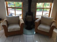Two Marks and Spencer Rattan Armchairs