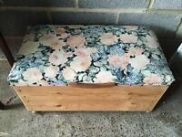 Vintage Wooden Ottoman With Upholstered Seat