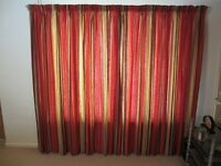 MASKREYS AUTUMNAL COLOURED STRIPED FULLY LINED PENCIL PLEAT CURTAINS