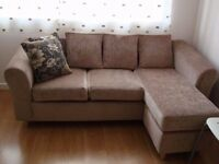 LEFT OR RIGHT HAND FACING BEIGE CORNER SOFA WITH CUSHIONS