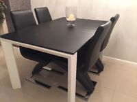 Extendable Glass Table and 4x Z Black Chairs