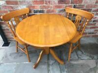 IMMACULATE PINE TABLE + 2 CHAIRS - BELPER, DERBYSHIRE