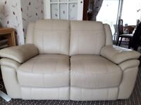 Beige two seater leather sofa