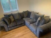 Grey velvet corner sofa