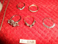 5 gold rings, 9ct /18ct