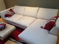 Modern beige sofa with right hand facing chaise