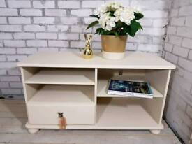 Shabby chic TV media unit, entertainment bench with drawer