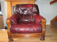 Vintage Burgundy Leather arm chairs