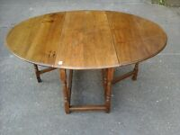 Solid Oak Antique Jacobean style folding dark wood table 100yrs old