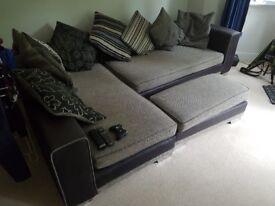 Leather / Fabric corner sofa