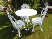 White Garden Patio metal table and three metal garden patio chairs