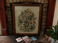 Antique 1930's Oak Wooden Fire Screen or Picture Frame or chalk board project