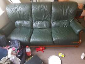 Green leather Italian sofa