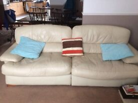 Leather 3 Seater Sofa, Armchair & Footstool/storage box. Excellent condition. £100 ONO