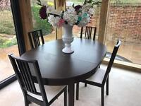 Ikea Bjursta table with matching 4 Borje chairs
