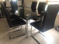 Glass Dinning Table and 6 Chairs