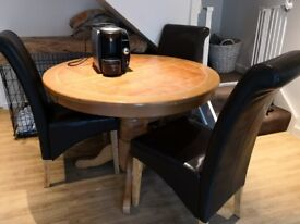 Circular Extending Table with 4 High Back Chairs