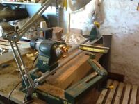 Record CL1 Wood Turning Lathe & Tools, Band Saw, Quantity seasoned Timber.