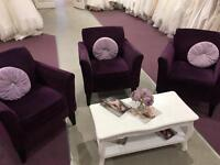 6 purple chenille armchairs & 2 matching footstools