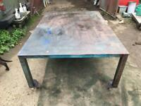 Large welding table on wheels